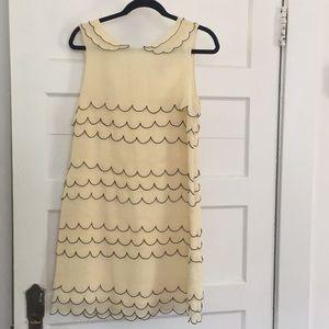 Layered Scallop Cream and Black Dress